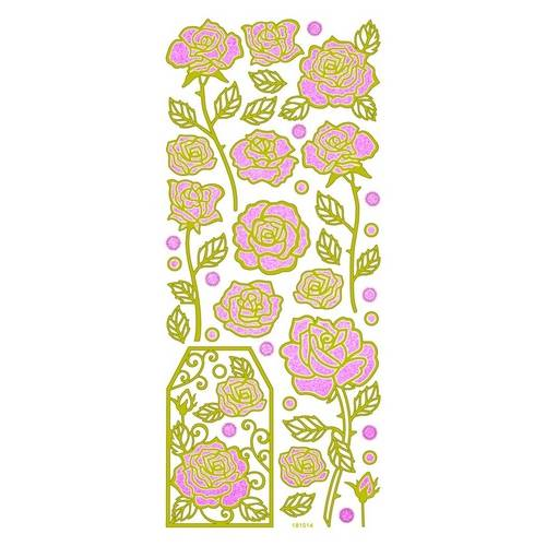 Adesivo Fashion C/Glitter Rosas AD1352 TEC