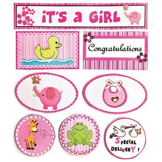Adesivo Fm com Glitter Tags Bebê Menina Rosa Ad1489 - Toke e Crie