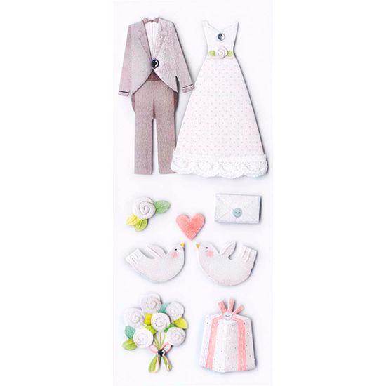 Adesivo Fofinho Casamento Noivos e Pombos AD1661 - Toke e Crie