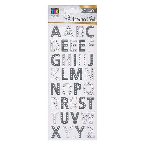 Adesivo Foil - AD1845 - Prateado Alfabeto - Toke e Crie