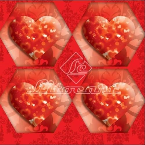 Adesivo Hexagonal C/Glitter Litocart LAHG-02