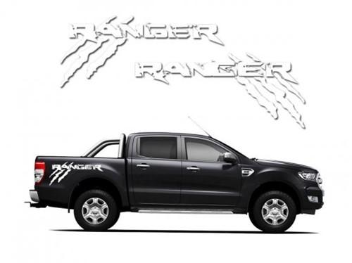 Adesivo Lateral Ford Ranger Monster Branco NA
