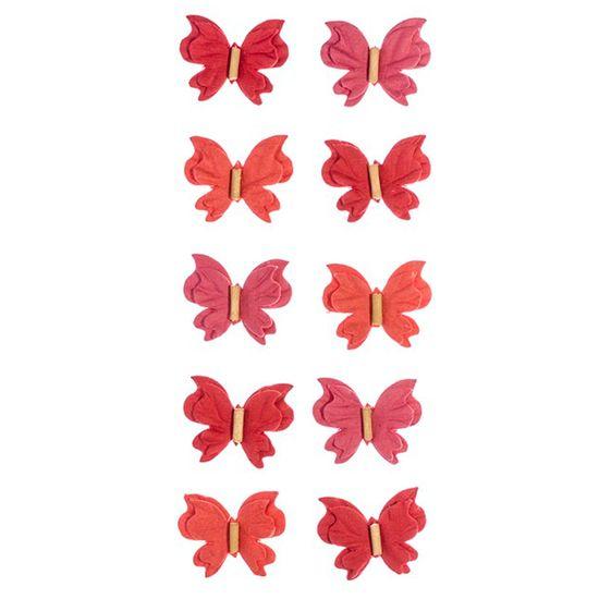 Adesivo Mini Borboletas de Papel Rouge Coleção Feito à Mão AD1687 - Toke e Crie
