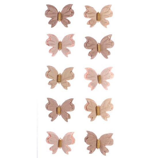 Adesivo Mini Borboletas de Papel Sépia Coleção Feito à Mão AD1689 - Toke e Crie