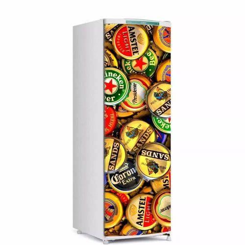 Adesivo para Geladeira Cerveja Tampinhas para Envelopamento de Porta