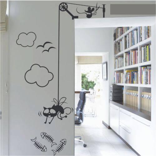 Adesivo Parede Sala Quarto Criativo Decorativo Gato Rato