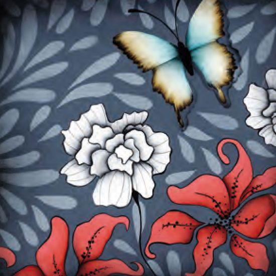 Adesivo Quadrado 15x15 Flores e Borboletas LAQXV-24 - Litocart Papel Adesivo Decoupage Quadrado 15x15 Flores e Borboletas LAQXV-24 - Litocart