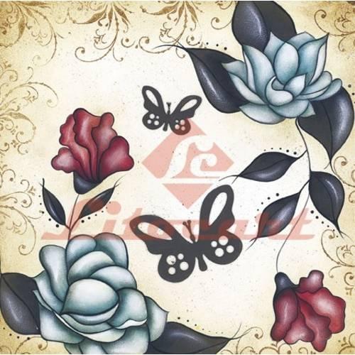 Adesivo Quadrado Pequeno Flores Borboleta Litocart LAQP-16