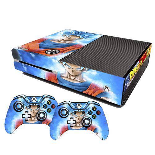 Adesivo Skin Xbox One Fat Goku Super Sayajin Blue