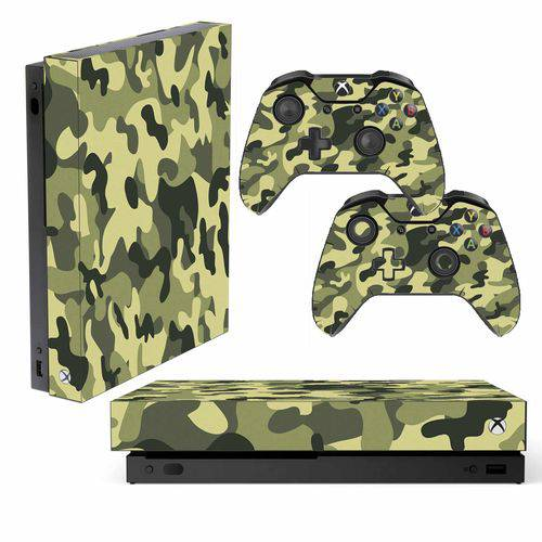 Adesivo Skin Xbox One X Camuflado Exércido Verde