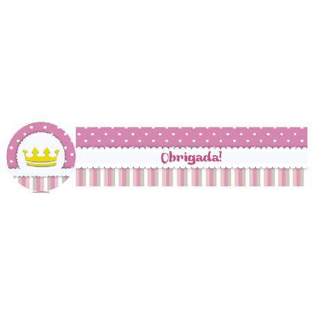 Adesivo Tubete Chá de Bebê Coroa Rosa Adesivo P/ Lembrancinha Tubete Chá de Bebê Coroa Rosa - 10 Unidades
