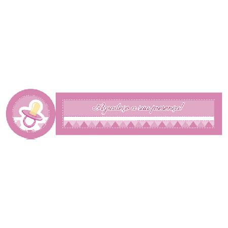 Adesivo Tubete Chá de Bebê Rosa Adesivo P/ Lembrancinha Tubete Chá de Bebê Rosa - 10 Unidades