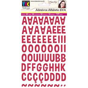 Adesivos Alfabeto Eva Vermelho Ref.16101-ADF1594 Toke e Crie