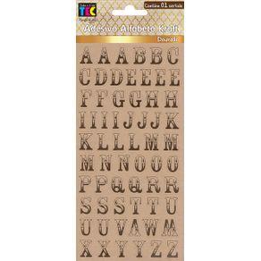 Adesivos Alfabeto Kraft Dourado Clássico Maiúsculo Ref.17875-AD1808 Toke e Crie