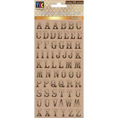Adesivos Alfabeto Kraft Dourado Clássico Maiúsculo Toke e Crie - 17875 - AD1808