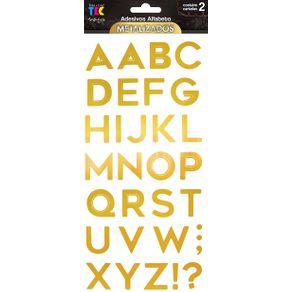 Adesivos Alfabeto Metalizados Maiúsculo Dourado Ref.20348-AD1882 Toke e Crie