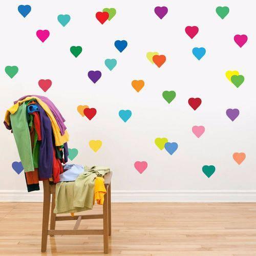 Adesivos de Parede 80 Corações Colorido
