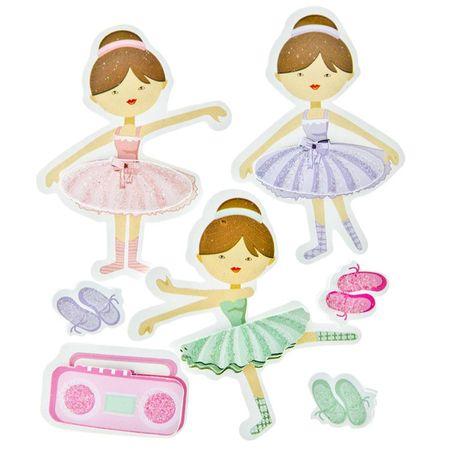 Adesivos FM com Glitter Toke e Crie 8x12,5cm Bailarinas