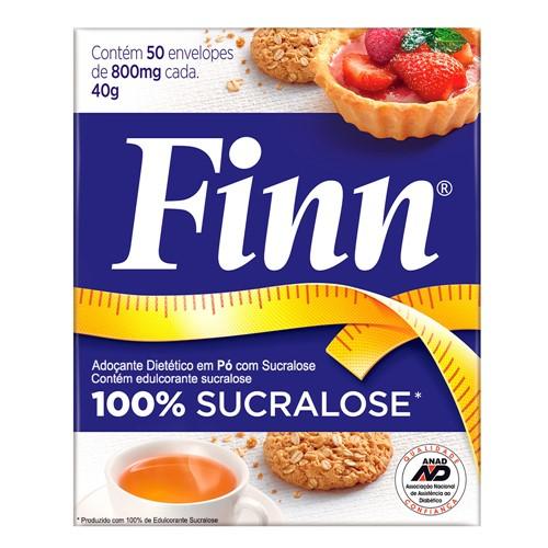 Adoçante Finn Sucralose Pó 40g com 50 Envelopes de 0,8g Cada