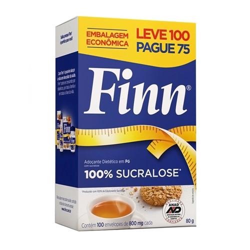 Adoçante Finn Sucralose Pó Leve 100 Pague 75 Envelopes de 0,8g Cada