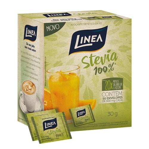 Adoçante Linea Stevia 100% Pó 30g com 50 Envelopes de 600mg Cada