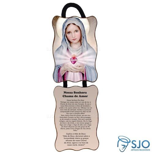 Adorno de Porta Retangular - Nossa Senhora da Chama do Amor   SJO Artigos Religiosos