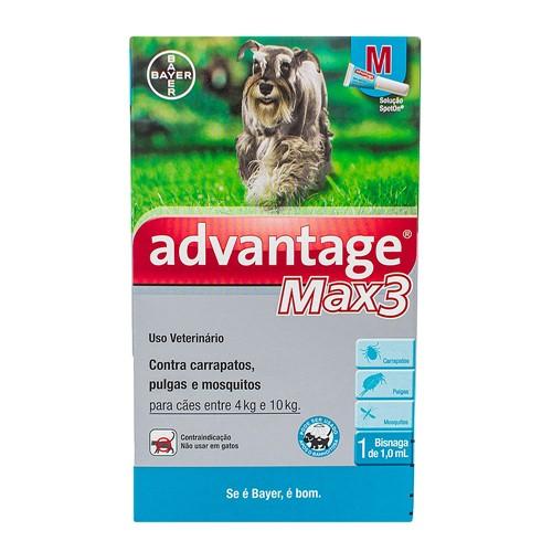 Advantage Max3 M Contra Carrapatos, Pulgas e Mosquitos para Cães Entre 4kg e 10kg com 1 Bisnaga de 1,0ml