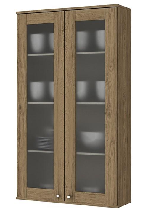 Aéreo Cristaleira Henn Space 2 Portas de Vidro Rústico