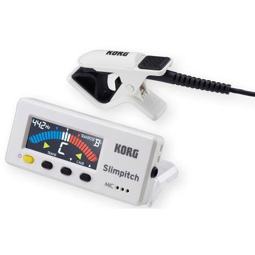 Afinador Cromático com Microfone de Contato Korg Slimpitch Branco Pérola