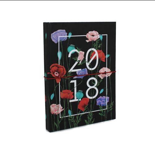 Agenda 2018 - Diária Média - Floral - Escura