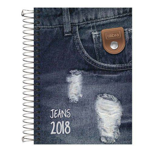 Agenda 2018 Jeans M5 Espiral Preta Tilibra