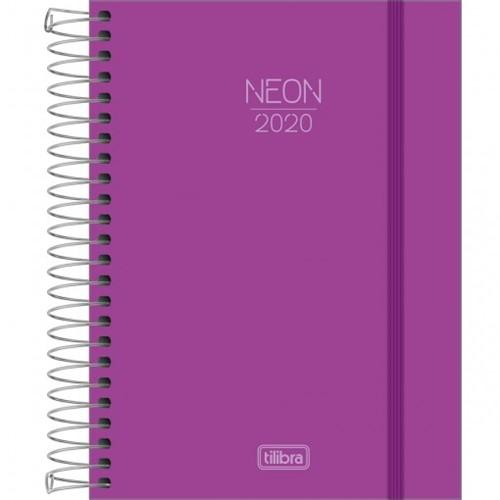Agenda Espiral Diária Capa Plástica Neon Roxa 2020