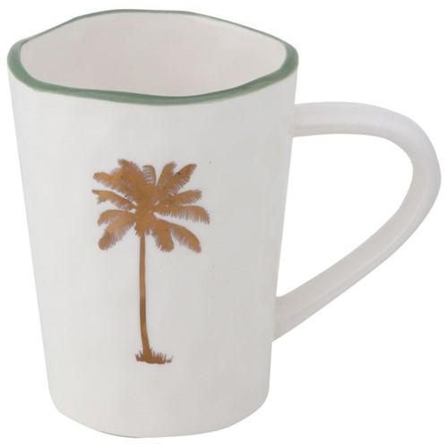 Água de Coco Coqueiro Caneca 300 Ml Branco/ouro