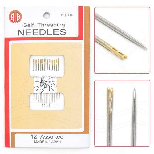 Agulhas para Costura Passa-linha Dourada - Kit C/ 12