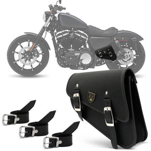 Alforge Lateral de Balança Harley Davidson Sportster 883 2003 a 2018 Bolsa de Couro Preto