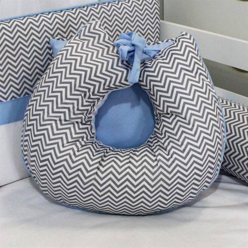 Almofada Amamentação Chevron Azul Bebê