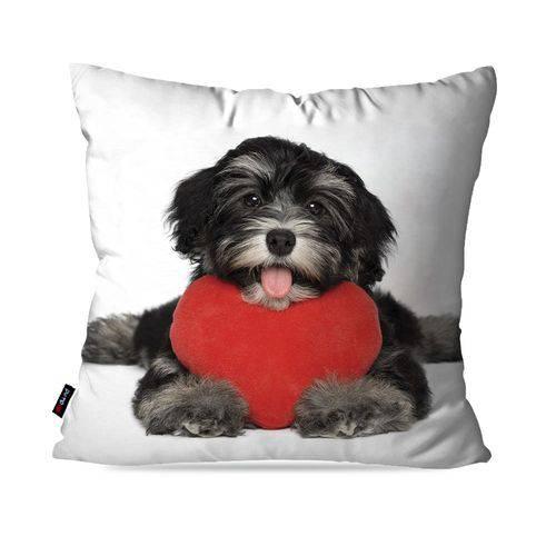 Almofada Avulsa Branco Cachorro Coração