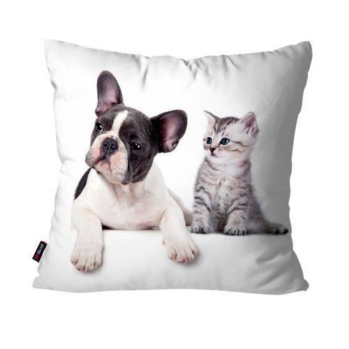 Almofada Avulsa Branco Cachorro e Gatinho