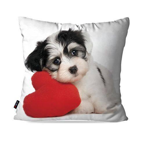 Almofada Avulsa Branco Cachorro Love