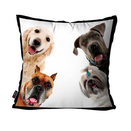 Capa de Almofada Avulsa Branco Cachorro Curiosos