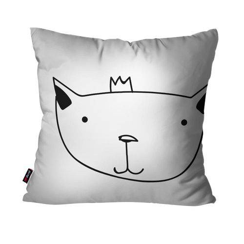 Almofada Avulsa Branco Gato Rei