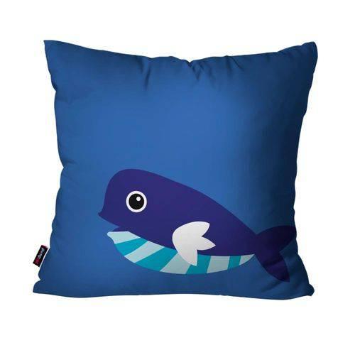 Almofada Avulsa Infantil Azul Baleia