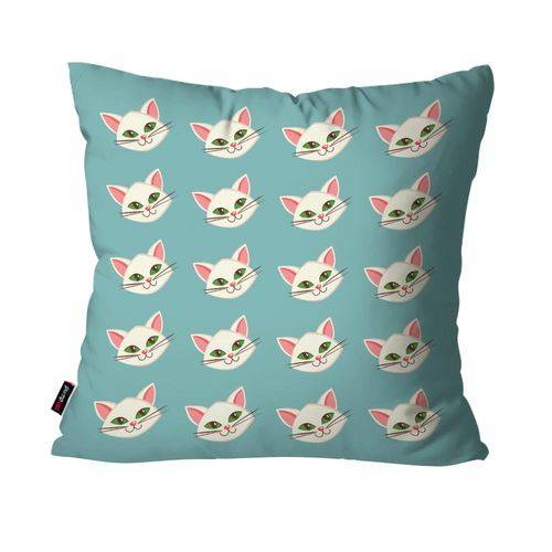Capa de Almofada Avulsa Infantil Azul Gatos