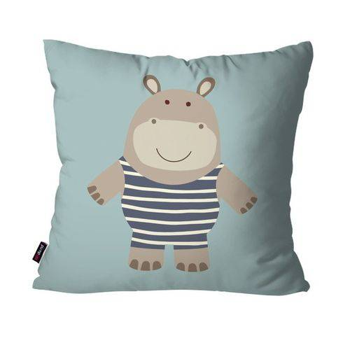 Capa de Almofada Avulsa Infantil Azul Hipopótamo
