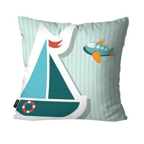 Capa de Almofada Avulsa Infantil Listrado Azul Barco