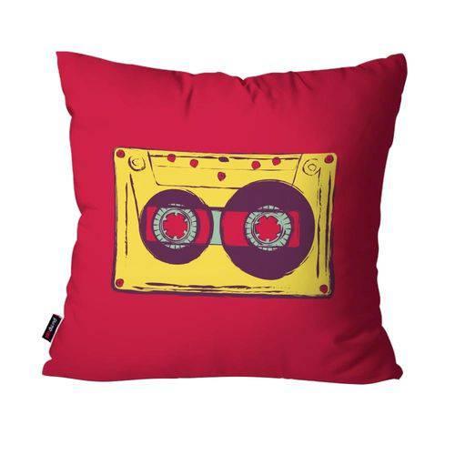 Capa de Almofada Avulsa Música Vermelho Fita Cassete