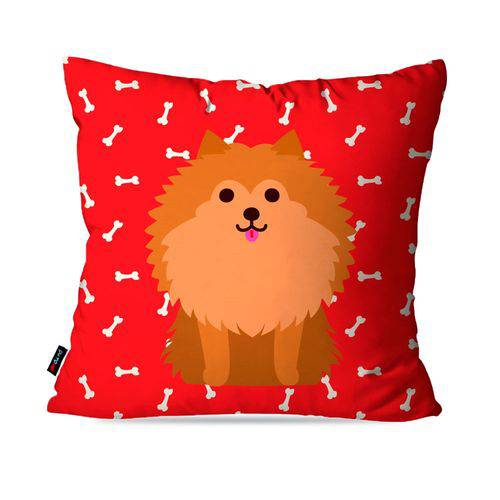 Almofada Avulsa Vermelho Cachorro Frente Costa