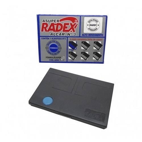 Almofada Carimbo N.3 6,9x11cm Asuper Radex Azul Tonbras CX 1 UN