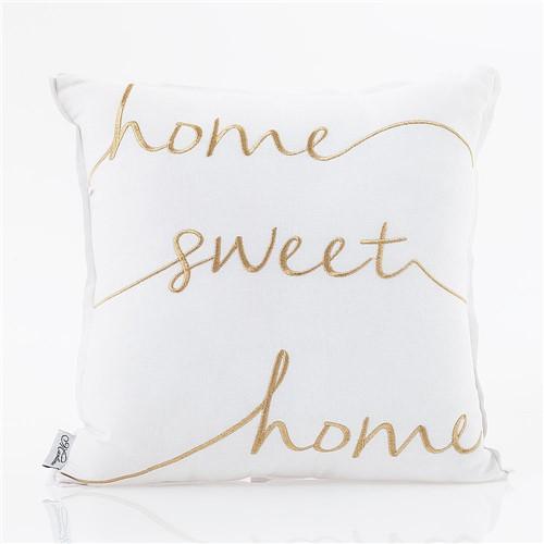 Almofada de Linho Bordada Home Sweet Home 45X45 Cm