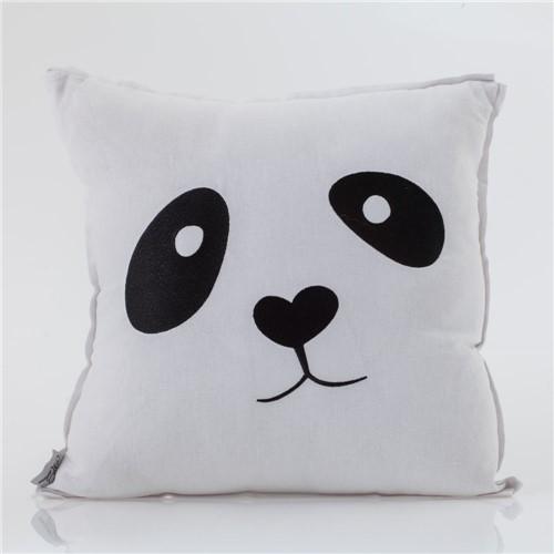 Almofada de Linho Bordada Panda Cm 45x45